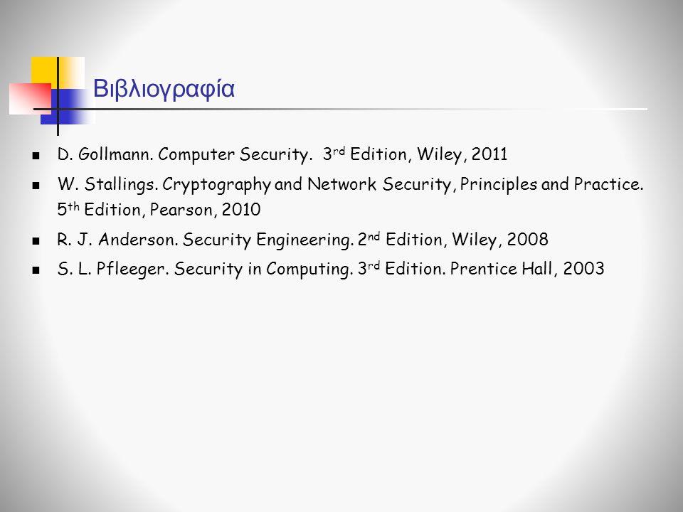 Βιβλιογραφία D. Gollmann. Computer Security. 3 rd Edition, Wiley, 2011 W. Stallings. Cryptography and Network Security, Principles and Practice. 5 th
