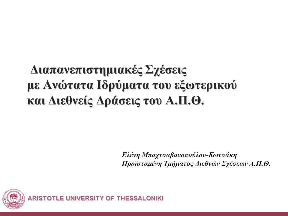 ARISTOTLE UNIVERSITY OF THESSALONIKI Διαπανεπιστημιακές Σχέσεις με Ανώτατα Ιδρύματα του εξωτερικού και Διεθνείς Δράσεις του Α.Π.Θ.