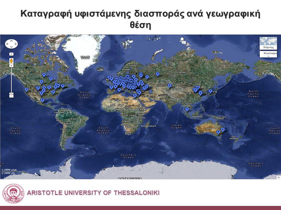 ARISTOTLE UNIVERSITY OF THESSALONIKI Καταγραφή υφιστάμενης διασποράς ανά γεωγραφική θέση