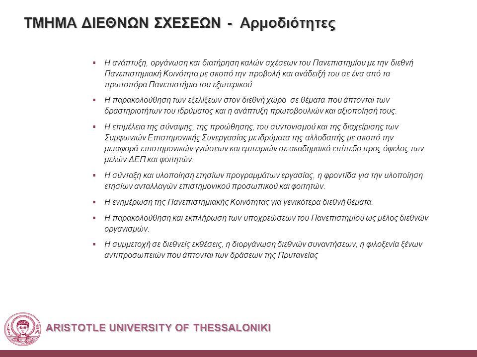 ARISTOTLE UNIVERSITY OF THESSALONIKI ΤΜΗΜΑ ΔΙΕΘΝΩΝ ΣΧΕΣΕΩΝ - Αρμοδιότητες  Η ανάπτυξη, οργάνωση και διατήρηση καλών σχέσεων του Πανεπιστημίου με την διεθνή Πανεπιστημιακή Κοινότητα με σκοπό την προβολή και ανάδειξή του σε ένα από τα πρωτοπόρα Πανεπιστήμια του εξωτερικού.