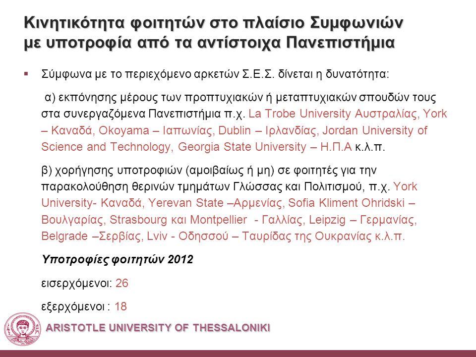 ARISTOTLE UNIVERSITY OF THESSALONIKI Κινητικότητα φοιτητών στο πλαίσιο Συμφωνιών με υποτροφία από τα αντίστοιχα Πανεπιστήμια  Σύμφωνα με το περιεχόμενο αρκετών Σ.Ε.Σ.