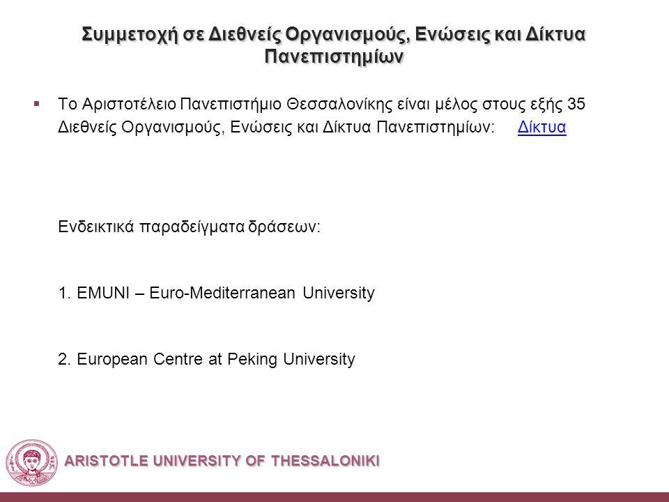 ARISTOTLE UNIVERSITY OF THESSALONIKI Συμμετοχή σε Διεθνείς Οργανισμούς, Ενώσεις και Δίκτυα Πανεπιστημίων  Το Αριστοτέλειο Πανεπιστήμιο Θεσσαλονίκης είναι μέλος στους εξής 35 Διεθνείς Οργανισμούς, Ενώσεις και Δίκτυα Πανεπιστημίων: ΔίκτυαΔίκτυα Ενδεικτικά παραδείγματα δράσεων: 1.