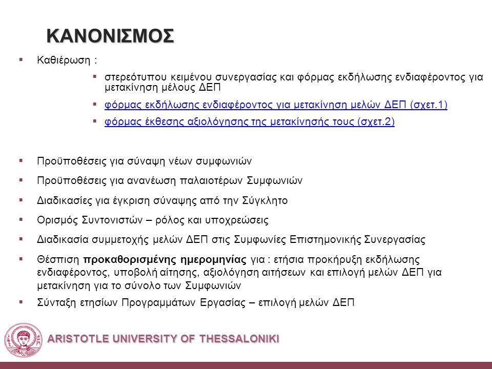 ARISTOTLE UNIVERSITY OF THESSALONIKI ΚΑΝΟΝΙΣΜΟΣ  Καθιέρωση :  στερεότυπου κειμένου συνεργασίας και φόρμας εκδήλωσης ενδιαφέροντος για μετακίνηση μέλους ΔΕΠ  φόρμας εκδήλωσης ενδιαφέροντος για μετακίνηση μελών ΔΕΠ (σχετ.1) φόρμας εκδήλωσης ενδιαφέροντος για μετακίνηση μελών ΔΕΠ (σχετ.1)  φόρμας έκθεσης αξιολόγησης της μετακίνησής τους (σχετ.2) φόρμας έκθεσης αξιολόγησης της μετακίνησής τους (σχετ.2)  Προϋποθέσεις για σύναψη νέων συμφωνιών  Προϋποθέσεις για ανανέωση παλαιοτέρων Συμφωνιών  Διαδικασίες για έγκριση σύναψης από την Σύγκλητο  Ορισμός Συντονιστών – ρόλος και υποχρεώσεις  Διαδικασία συμμετοχής μελών ΔΕΠ στις Συμφωνίες Επιστημονικής Συνεργασίας  Θέσπιση προκαθορισμένης ημερομηνίας για : ετήσια προκήρυξη εκδήλωσης ενδιαφέροντος, υποβολή αίτησης, αξιολόγηση αιτήσεων και επιλογή μελών ΔΕΠ για μετακίνηση για το σύνολο των Συμφωνιών  Σύνταξη ετησίων Προγραμμάτων Εργασίας – επιλογή μελών ΔΕΠ