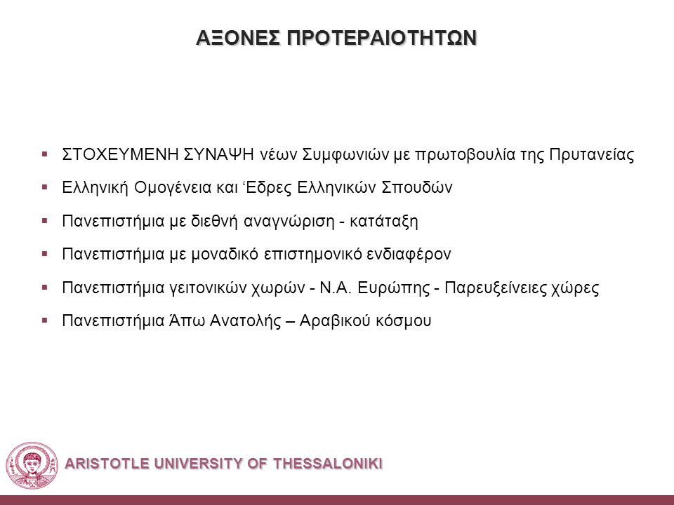 ARISTOTLE UNIVERSITY OF THESSALONIKI ΑΞΟΝΕΣ ΠΡΟΤΕΡΑΙΟΤΗΤΩΝ  ΣΤΟΧΕΥΜΕΝΗ ΣΥΝΑΨΗ νέων Συμφωνιών με πρωτοβουλία της Πρυτανείας  Ελληνική Ομογένεια και 'Εδρες Ελληνικών Σπουδών  Πανεπιστήμια με διεθνή αναγνώριση - κατάταξη  Πανεπιστήμια με μοναδικό επιστημονικό ενδιαφέρον  Πανεπιστήμια γειτονικών χωρών - Ν.Α.