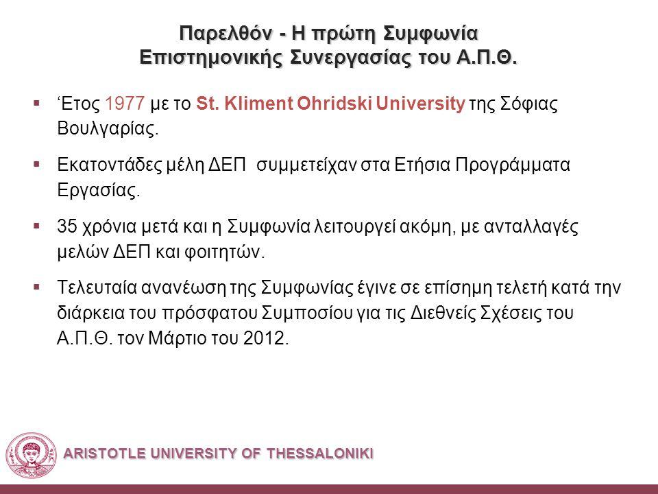 ARISTOTLE UNIVERSITY OF THESSALONIKI Παρελθόν - Η πρώτη Συμφωνία Επιστημονικής Συνεργασίας του Α.Π.Θ.