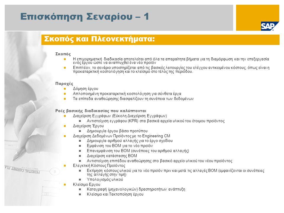 Επισκόπηση Σεναρίου – 2 Απαιτείται Το πακέτο βελτίωσης 4 του SAP για SAP ERP 6.0 Ρόλοι εταιρίας στις ροές διαδικασίας Διευθυντής Έργου Ελεγκτής Κόστους Προϊόντος Ειδικός Μηχανολογίας Εργαζόμενος (Επαγγελματίας Χρήστης) Ελεγκτής Επιχείρησης Λογιστής Παγίων Εφαρμογές SAP που Απαιτούνται: