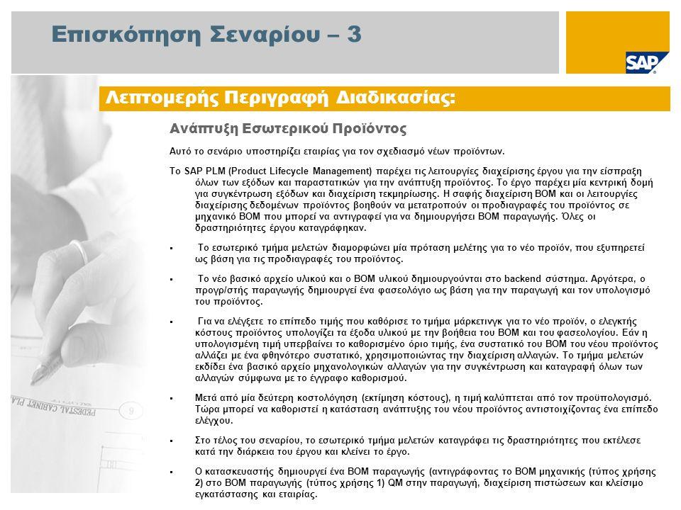 Διάγραμμα Ροής Εργασιών Ανάπτυξη Εσωτερικού Προϊόντος Δ /ν τής Έργου Ειδικός Μηχανολογίας Ελεγκτής Επιχείρησης Τμήμα Μάρκετ ινγκ Δημιουργία ΒΟΜ Υλικού (155.37) Παραλαβή Αίτησης Μελέτης από Το Εσωτ.Τμήμα Μάρκετίνγκ Αίτηση Μελέτης για Νέο Προϊόν BOM = Πίνακας Υλικών, DM = Διαχείριση Εγγράφων Έγκριση Έργου Παραλαβή Προδιαγραφών από Εσωτ.Τμήμα Μάρκετινγκ και Δημιουργία Αρχ.Πληρ.Εργγράφων Δημ.Έργου Μελέτης Αντιστοίχ.Επιπέ δ.Αναθεώρ.με Υλικό Κεφαλ.Νέου Προϊόντος Δημ.Βασ.Αρχ.Υλ ικού για Υλικό Κεφαλίδας Δημ.Βασ.Αρχ.Μηχ ανολογ.Αλλαγών (ECM) για σχεδιασμό CAD Δημιουργία Αρχείου Πληροφοριών Εγγ΄ραφου Δημ.ΒΟΜ Παραγωγής από Μηχανολογ.BOM Σύνδεση Αρχ.Πληρ.Εγγρ.