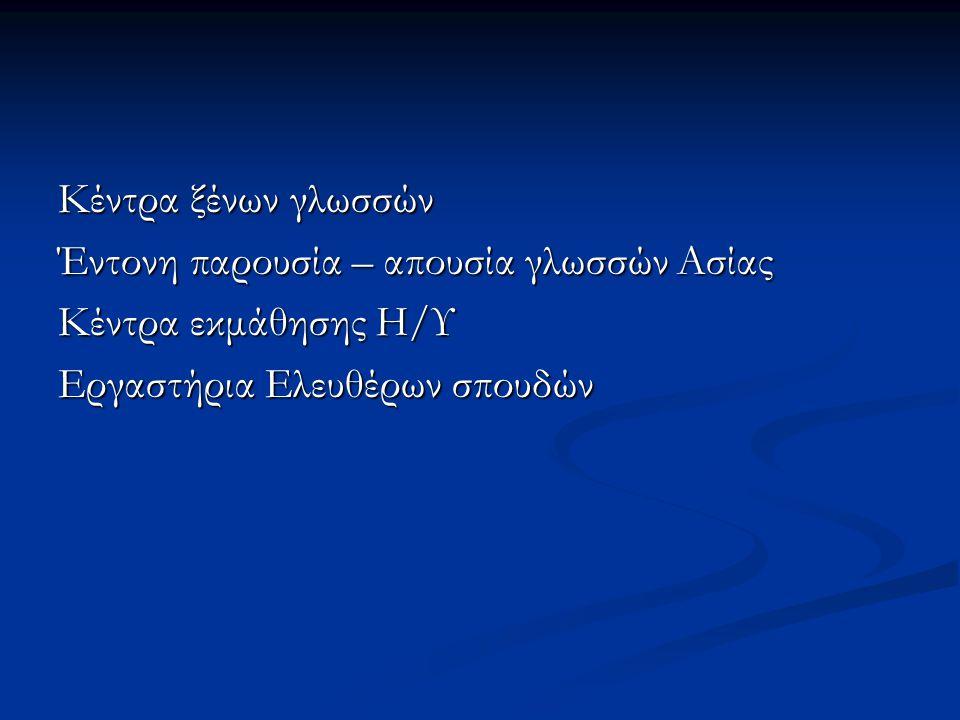 Κέντρα ξένων γλωσσών Έντονη παρουσία – απουσία γλωσσών Ασίας Κέντρα εκμάθησης Η/Υ Εργαστήρια Ελευθέρων σπουδών