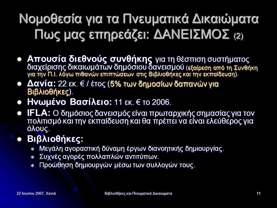 22 Ιουνίου 2007, ΧανιάΒιβλιοθήκες και Πνευματικά Δικαιώματα11 Νομοθεσία για τα Πνευματικά Δικαιώματα Πως μας επηρεάζει: ΔΑΝΕΙΣΜΟΣ (2) Απουσία διεθνούς συνθήκης για τη θέσπιση συστήματος διαχείρισης δικαιωμάτων δημόσιου δανεισμού (εξαίρεση από τη Συνθήκη για την Π.Ι.