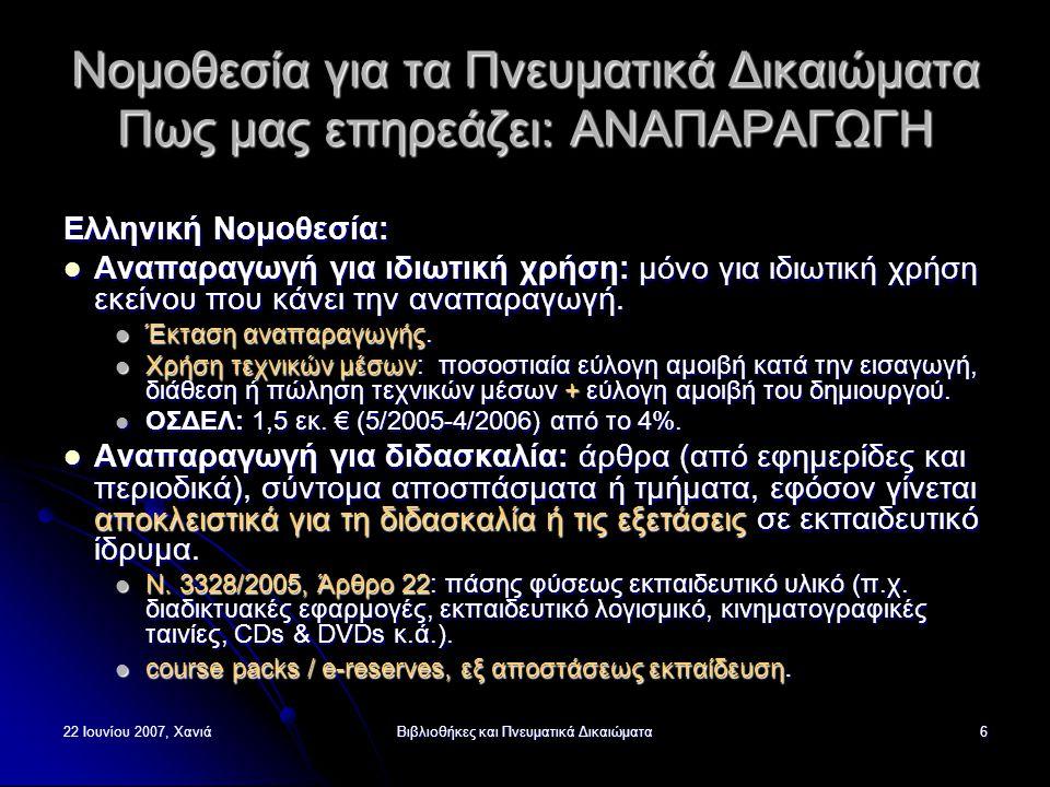 22 Ιουνίου 2007, ΧανιάΒιβλιοθήκες και Πνευματικά Δικαιώματα7 Νομοθεσία για τα Πνευματικά Δικαιώματα Πως μας επηρεάζει: ΑΝΑΠΑΡΑΓΩΓΗ (2) Ελληνική Νομοθεσία…: Αναπαραγωγή από Βιβλιοθήκες και Αρχεία: αναπαραγωγή ενός πρόσθετου αντιτύπου από μη κερδοσκοπικές Βιβλιοθήκες ή Αρχεία, που έχουν αντίτυπο του έργου στη μόνιμη συλλογή τους, προκειμένου να διατηρήσουν το αντίτυπο αυτό ή να το μεταβιβάσουν σε άλλη, μη κερδοσκοπική, Βιβλιοθήκη ή Αρχείο, εφόσον είναι αδύνατη η προμήθεια από την αγορά.