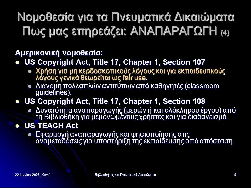 22 Ιουνίου 2007, ΧανιάΒιβλιοθήκες και Πνευματικά Δικαιώματα9 Νομοθεσία για τα Πνευματικά Δικαιώματα Πως μας επηρεάζει: ΑΝΑΠΑΡΑΓΩΓΗ (4) Αμερικανική νομοθεσία: US Copyright Act, Title 17, Chapter 1, Section 107 US Copyright Act, Title 17, Chapter 1, Section 107 Χρήση για μη κερδοσκοπικούς λόγους και για εκπαιδευτικούς λόγους γενικά θεωρείται ως fair use.