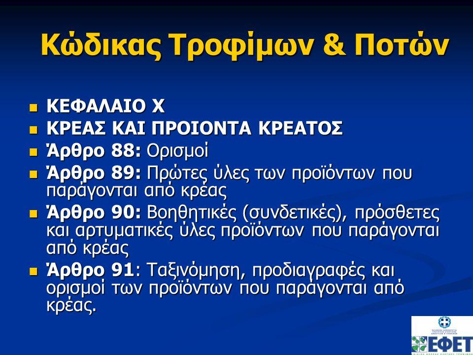 Κώδικας Τροφίμων & Ποτών Άρθρο 91: Προϊόντα με βάση το κρέας Άρθρο 91: Προϊόντα με βάση το κρέας Μέρος Α : Προϊόντα Αλλαντοποιίας Μέρος Α : Προϊόντα Αλλαντοποιίας Μέρος Β : Έτερα προϊόντα (σούπες, ζωμοί, κονσομέ, άλλα προϊόντα) Μέρος Β : Έτερα προϊόντα (σούπες, ζωμοί, κονσομέ, άλλα προϊόντα)