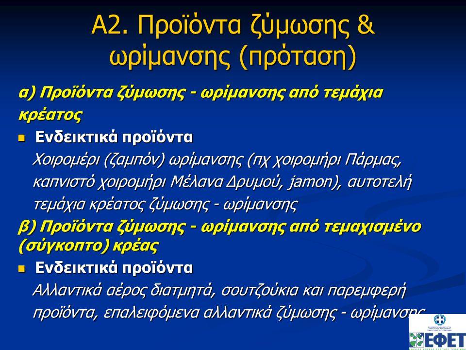 Α2. Προϊόντα ζύμωσης & ωρίμανσης (πρόταση) α) Προϊόντα ζύμωσης - ωρίμανσης από τεμάχια κρέατος Ενδεικτικά προϊόντα Ενδεικτικά προϊόντα Χοιρομέρι (ζαμπ