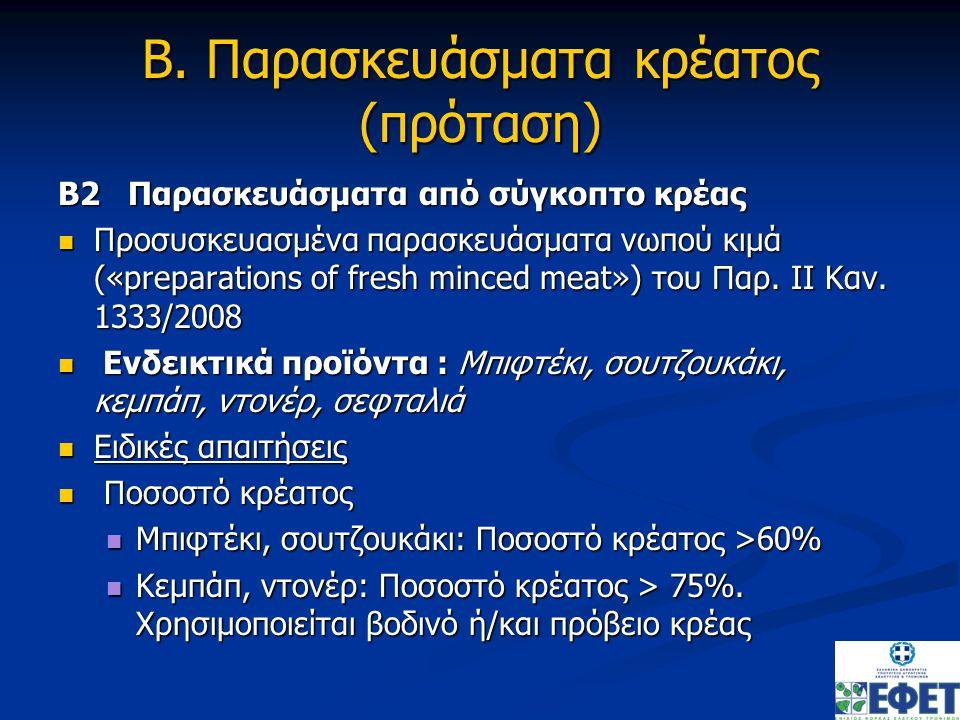Β. Παρασκευάσματα κρέατος (πρόταση) Β2 Παρασκευάσματα από σύγκοπτο κρέας Προσυσκευασμένα παρασκευάσματα νωπού κιμά («preparations of fresh minced meat