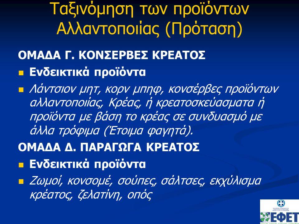 Ταξινόμηση των προϊόντων Αλλαντοποιίας (Πρόταση) ΟΜΑΔΑ Γ.