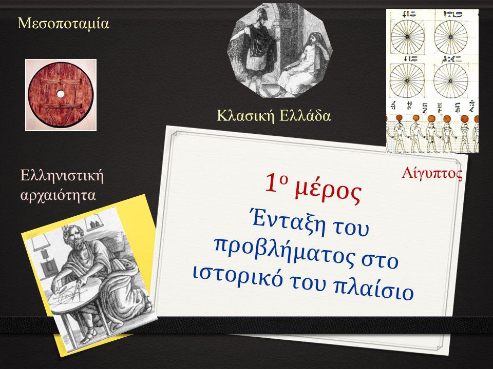 1 ο μέρος Ένταξη του προβλήματος στο ιστορικό του πλαίσιο Μεσοποταμία Αίγυπτος Κλασική Ελλάδα Ελληνιστική αρχαιότητα