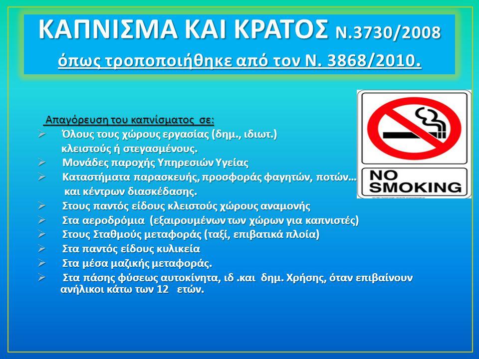 Απαγόρευση του καπνίσματος σε : Απαγόρευση του καπνίσματος σε :  Όλους τους χώρους εργασίας ( δημ., ιδιωτ.) κλειστούς ή στεγασμένους.