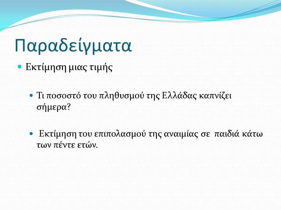 Παραδείγματα Εκτίμηση μιας τιμής Τι ποσοστό του πληθυσμού της Ελλάδας καπνίζει σήμερα? Εκτίμηση του επιπολασμού της αναιμίας σε παιδιά κάτω των πέντε