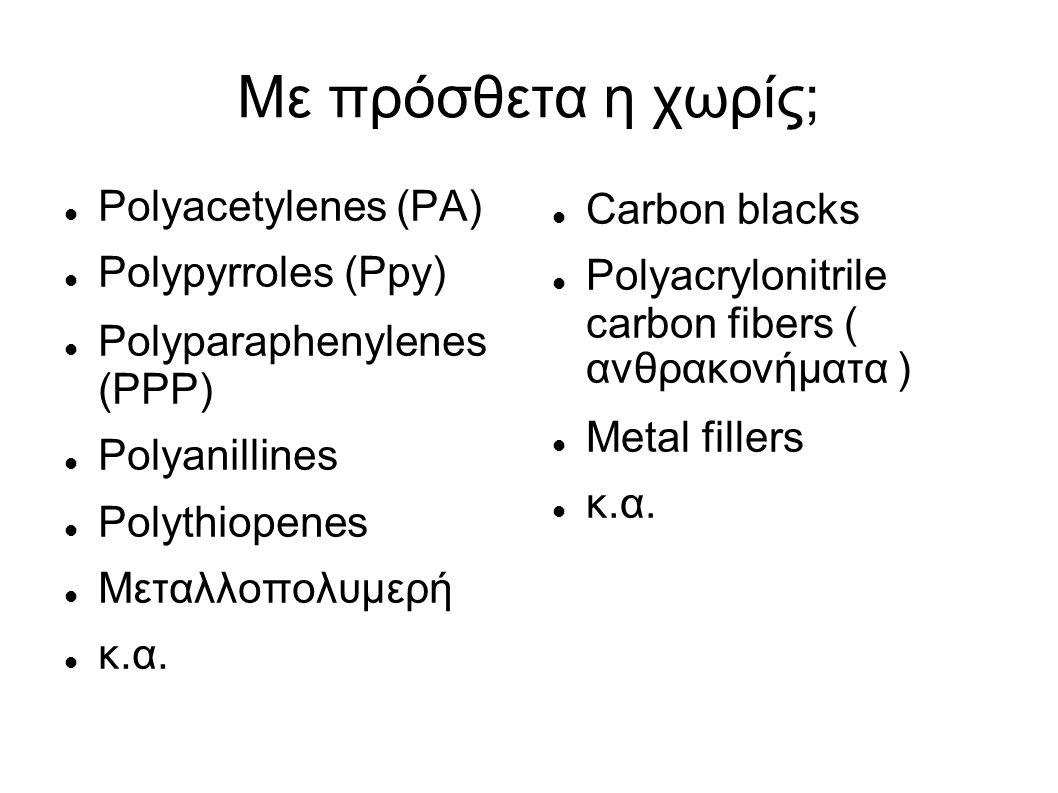 Με πρόσθετα η χωρίς; Polyacetylenes (PA) Polypyrroles (Ppy) Polyparaphenylenes (PPP) Polyanillines Polythiopenes Μεταλλοπολυμερή κ.α.