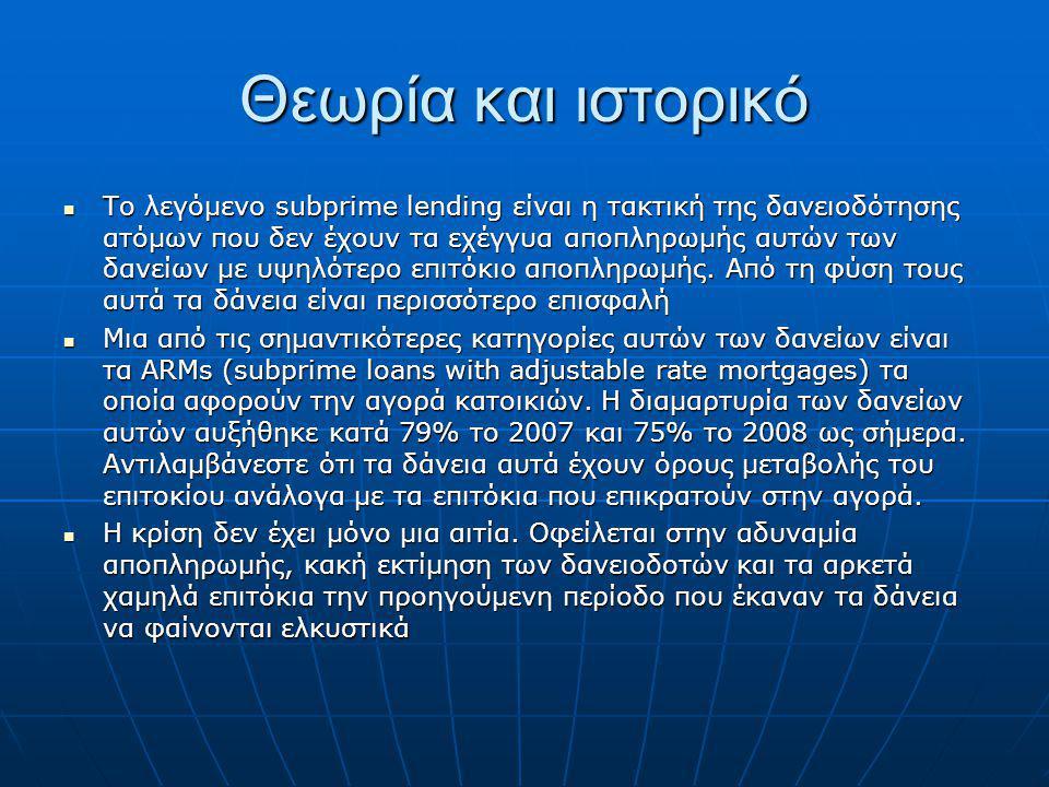 Θεωρία και ιστορικό Το λεγόμενο subprime lending είναι η τακτική της δανειοδότησης ατόμων που δεν έχουν τα εχέγγυα αποπληρωμής αυτών των δανείων με υψ