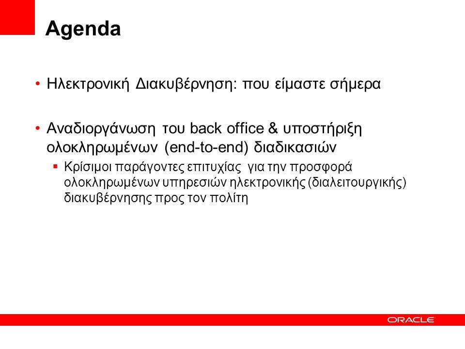 Agenda Ηλεκτρονική Διακυβέρνηση: που είμαστε σήμερα Αναδιοργάνωση του back office & υποστήριξη ολοκληρωμένων (end-to-end) διαδικασιών  Κρίσιμοι παράγ