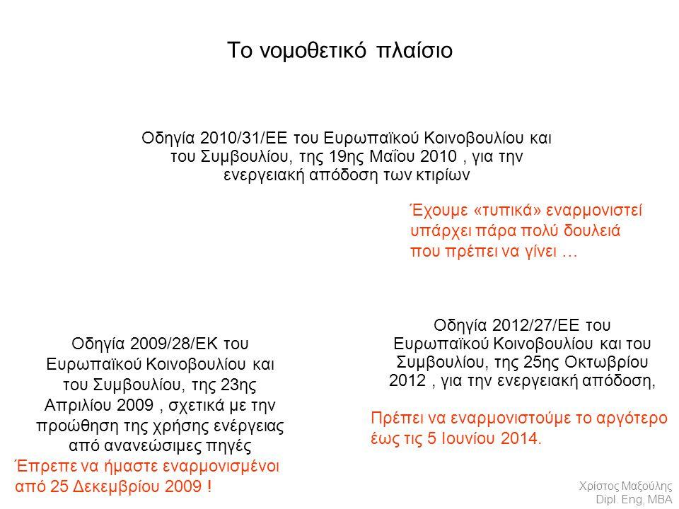 Το νομοθετικό πλαίσιο Οδηγία 2010/31/ΕΕ του Ευρωπαϊκού Κοινοβουλίου και του Συμβουλίου, της 19ης Μαΐου 2010, για την ενεργειακή απόδοση των κτιρίων Οδηγία 2012/27/ΕΕ του Ευρωπαϊκού Κοινοβουλίου και του Συμβουλίου, της 25ης Οκτωβρίου 2012, για την ενεργειακή απόδοση, Οδηγία 2009/28/ΕΚ του Ευρωπαϊκού Κοινοβουλίου και του Συμβουλίου, της 23ης Απριλίου 2009, σχετικά με την προώθηση της χρήσης ενέργειας από ανανεώσιμες πηγές Χρίστος Μαξούλης Dipl.
