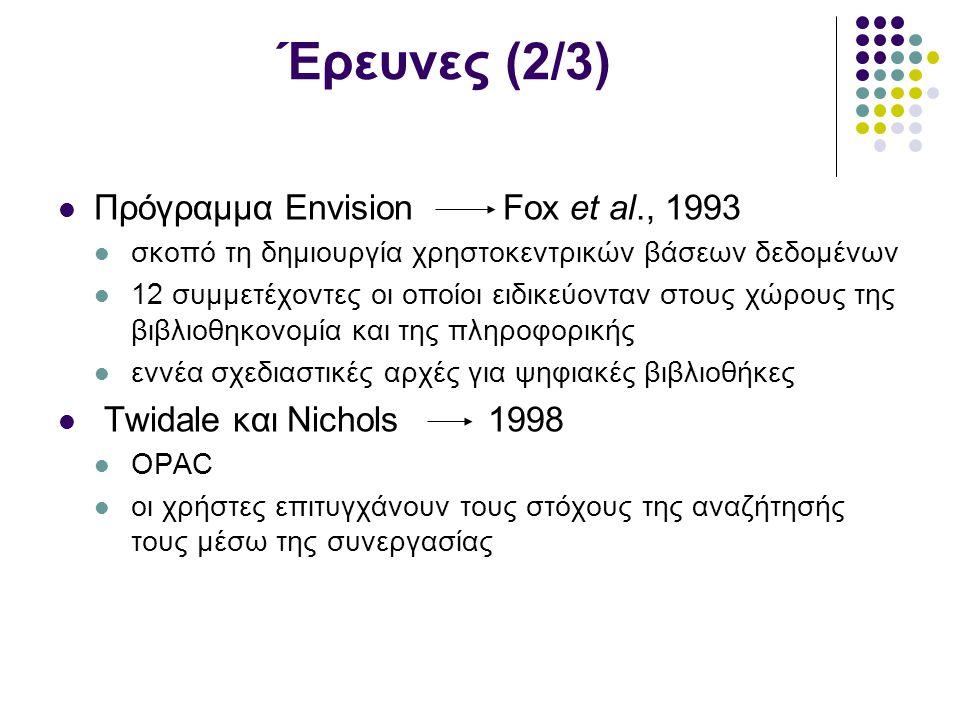 Έρευνες (2/3) Πρόγραμμα Envision Fox et al., 1993 σκοπό τη δημιουργία χρηστοκεντρικών βάσεων δεδομένων 12 συμμετέχοντες οι οποίοι ειδικεύονταν στους χώρους της βιβλιοθηκονομία και της πληροφορικής εννέα σχεδιαστικές αρχές για ψηφιακές βιβλιοθήκες Twidale και Nichols 1998 OPAC οι χρήστες επιτυγχάνουν τους στόχους της αναζήτησής τους μέσω της συνεργασίας