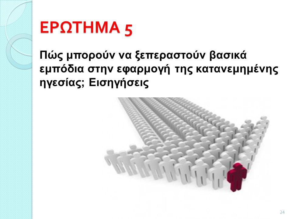 ΕΡΩΤΗΜΑ 5 24 Πώς μπορούν να ξεπεραστούν βασικά εμπόδια στην εφαρμογή της κατανεμημένης ηγεσίας; Εισηγήσεις