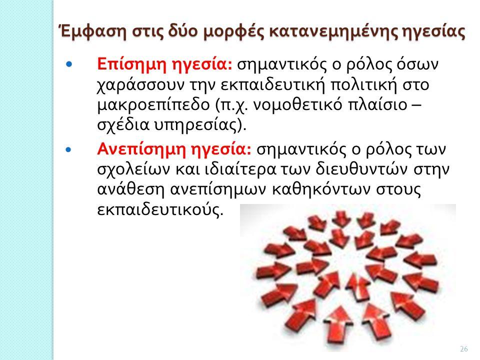 Έμφαση στις δύο μορφές κατανεμημένης ηγεσίας Επίσημη ηγεσία : σημαντικός ο ρόλος όσων χαράσσουν την εκπαιδευτική πολιτική στο μακροεπίπεδο ( π. χ. νομ