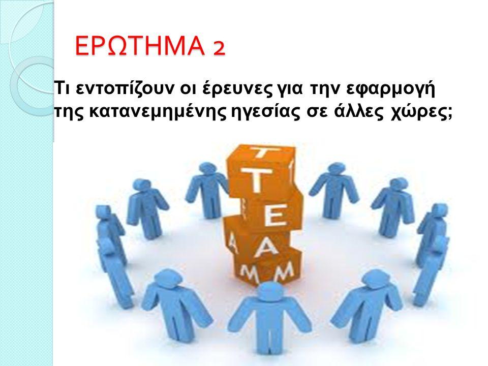 ΕΡΩΤΗΜΑ 2 7 Τι εντοπίζουν οι έρευνες για την εφαρμογή της κατανεμημένης ηγεσίας σε άλλες χώρες;