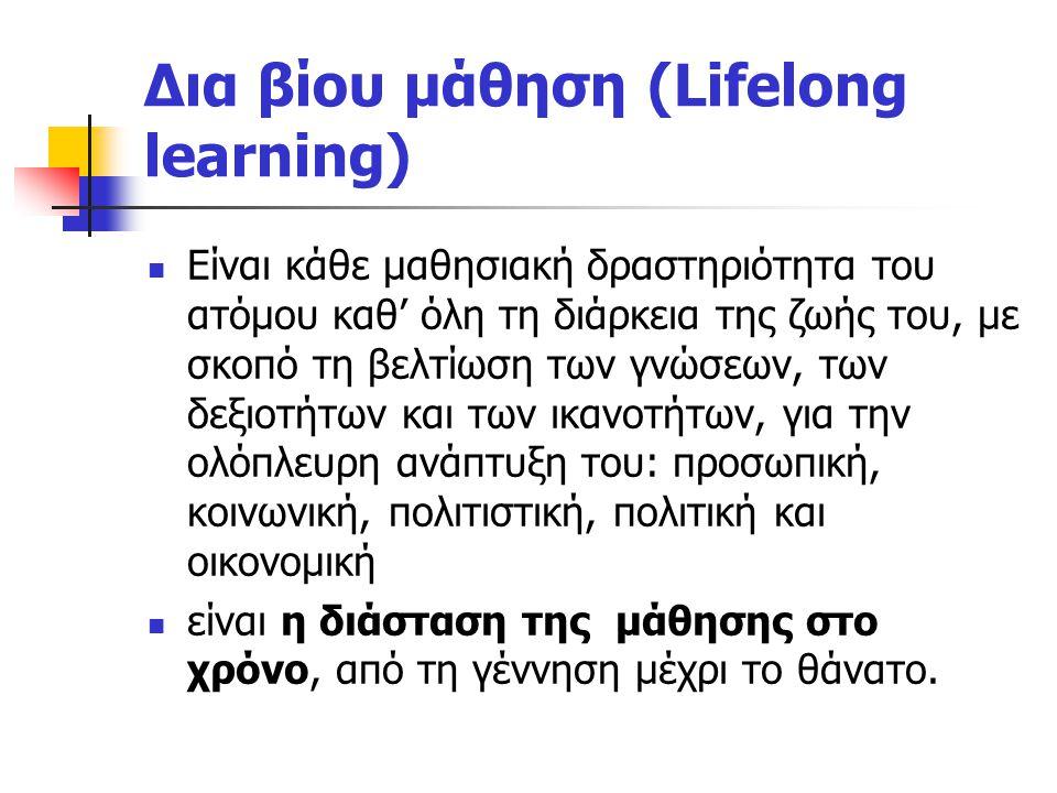 Δια βίου μάθηση (Lifelong learning) Είναι κάθε μαθησιακή δραστηριότητα του ατόμου καθ' όλη τη διάρκεια της ζωής του, με σκοπό τη βελτίωση των γνώσεων, των δεξιοτήτων και των ικανοτήτων, για την ολόπλευρη ανάπτυξη του: προσωπική, κοινωνική, πολιτιστική, πολιτική και οικονομική είναι η διάσταση της μάθησης στο χρόνο, από τη γέννηση μέχρι το θάνατο.