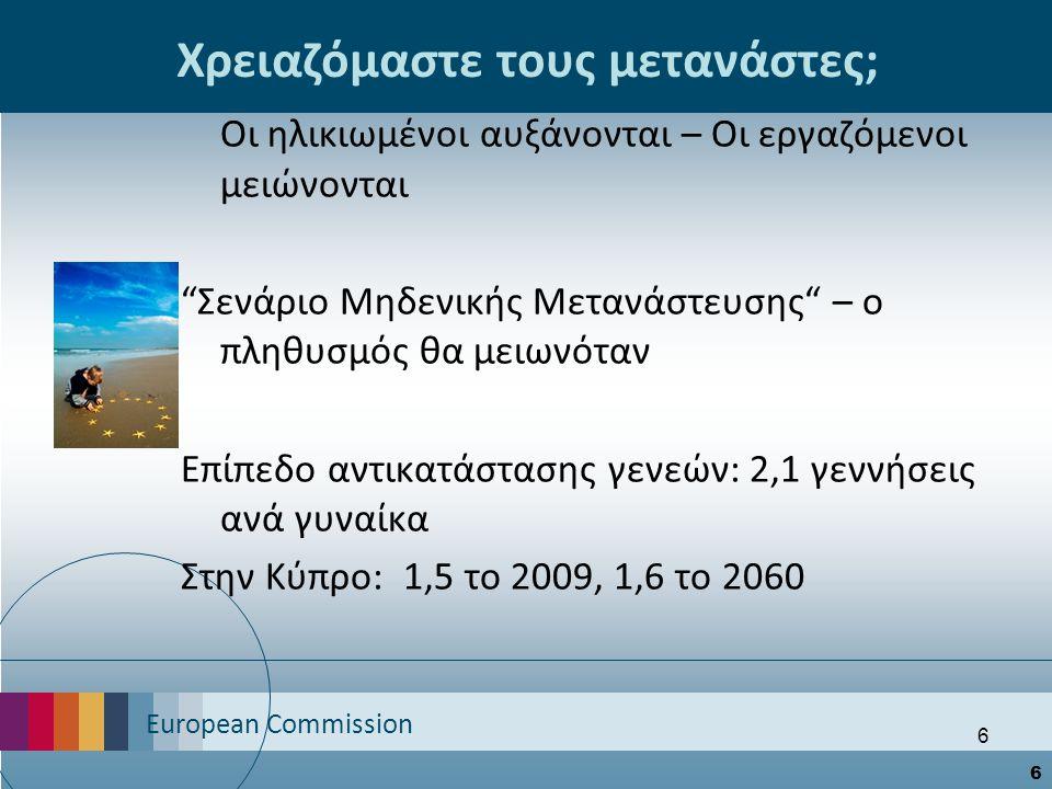 European Commission 6 6 Χρειαζόμαστε τους μετανάστες; Οι ηλικιωμένοι αυξάνονται – Οι εργαζόμενοι μειώνονται Σενάριο Μηδενικής Μετανάστευσης – ο πληθυσμός θα μειωνόταν Επίπεδο αντικατάστασης γενεών: 2,1 γεννήσεις ανά γυναίκα Στην Κύπρο: 1,5 το 2009, 1,6 το 2060