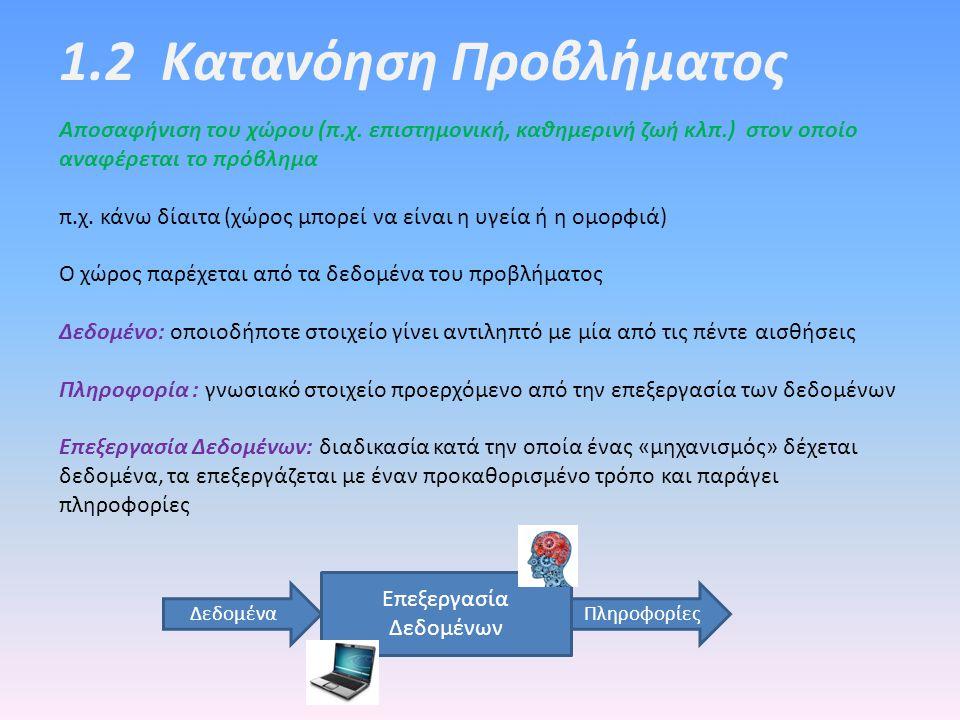 1.2 Κατανόηση Προβλήματος Αποσαφήνιση του χώρου (π.χ. επιστημονική, καθημερινή ζωή κλπ.) στον οποίο αναφέρεται το πρόβλημα π.χ. κάνω δίαιτα (χώρος μπο