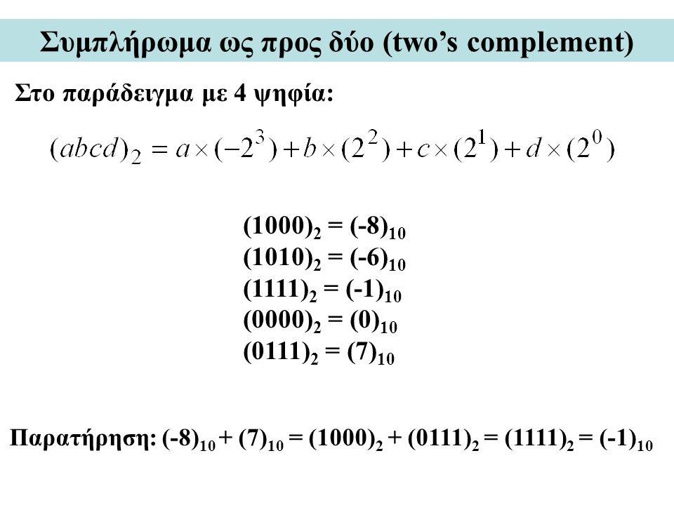 Συμπλήρωμα ως προς δύο (two's complement) Στο παράδειγμα με 4 ψηφία: (1000) 2 = (-8) 10 (1010) 2 = (-6) 10 (1111) 2 = (-1) 10 (0000) 2 = (0) 10 (0111) 2 = (7) 10 Παρατήρηση: (-8) 10 + (7) 10 = (1000) 2 + (0111) 2 = (1111) 2 = (-1) 10
