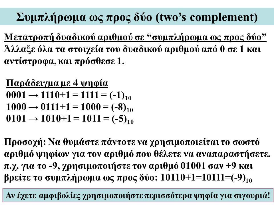 Συμπλήρωμα ως προς δύο (two's complement) Μετατροπή δυαδικού αριθμού σε συμπλήρωμα ως προς δύο Άλλαξε όλα τα στοιχεία του δυαδικού αριθμού από 0 σε 1 και αντίστροφα, και πρόσθεσε 1.