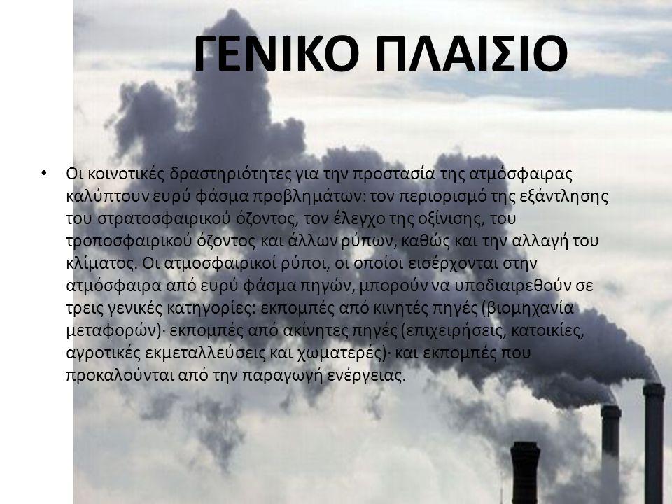 ΓΕΝΙΚΟ ΠΛΑΙΣΙΟ Οι κοινοτικές δραστηριότητες για την προστασία της ατμόσφαιρας καλύπτουν ευρύ φάσμα προβλημάτων: τον περιορισμό της εξάντλησης του στρα