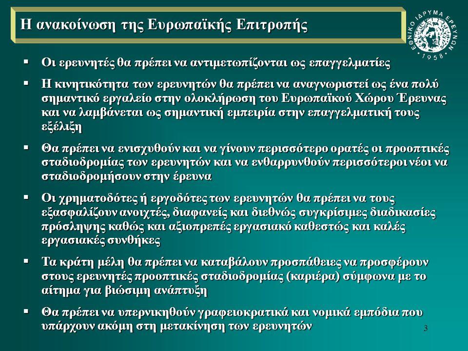 4  Να καταβάλουν τις δέουσες προσπάθειες ώστε οι εργοδότες των ερευνητών να αναπτύξουν ένα δημιουργικό ερευνητικό περιβάλλον που θα παρέχει όλα τα απαιτούμενα εφόδια για την υποστήριξη της έρευνάς τους  Να βελτιωθούν όπου κρίνεται απαραίτητο οι μέθοδοι πρόσληψης των ερευνητών (να γίνονται υπό το φως διάφανων διαδικασιών, ίσων ευκαιριών και διεθνώς αποδεκτού συστήματος)  Να διαμορφώσουν και να υιοθετήσουν στρατηγικές και συστήματα για την ανάπτυξη βιώσιμης καριέρας για τους ερευνητές, λαμβάνοντας υπόψη τους τις γενικές αρχές και κατευθύνσεις που δίνει η Επιτροπή με το σχετικό κείμενο  Να θεωρούνται οι ερευνητές ως ένα αναπόσπαστο τμήμα των θεσμικών μηχανισμών διασφάλισης ποιότητας λαμβάνοντάς τους υπόψη για την καθιέρωση χρηματοδοτικών κριτηρίων για εθνικά και περιφερειακά σχέδια χρηματοδότησης, όπως και χρησιμοποιώντας αυτούς για τον έλεγχο, την καταγραφή και την αξιολόγηση δημοσίων φορέων  Να συνεχίσουν τις προσπάθειές τους για την καταπολέμηση των γραφειοκρατικών και νομικών εμποδίων στην κινητικότητα των ερευνητών, λαμβάνοντας υπόψη τους τη διεύρυνση της ΕΕ  Να διασφαλίσουν ότι οι ερευνητές θα απολαμβάνουν την επαρκή κάλυψη κοινωνικής ασφάλισης σύμφωνα με το νομικό τους καθεστώς  Να ελέγχουν περιοδικά κατά πόσο τα μέτρα και οι συστάσεις εφαρμόζονται από τους εργοδότες και να ενημερώνουν την Επιτροπή για τα αποτελέσματα αυτών των εφαρμογών και να παρέχουν παραδείγματα καλής πρακτικής Επί του παρόντος, η Επιτροπή συστήνει στα κράτη – μέλη διάφορα μέτρα, όπως: