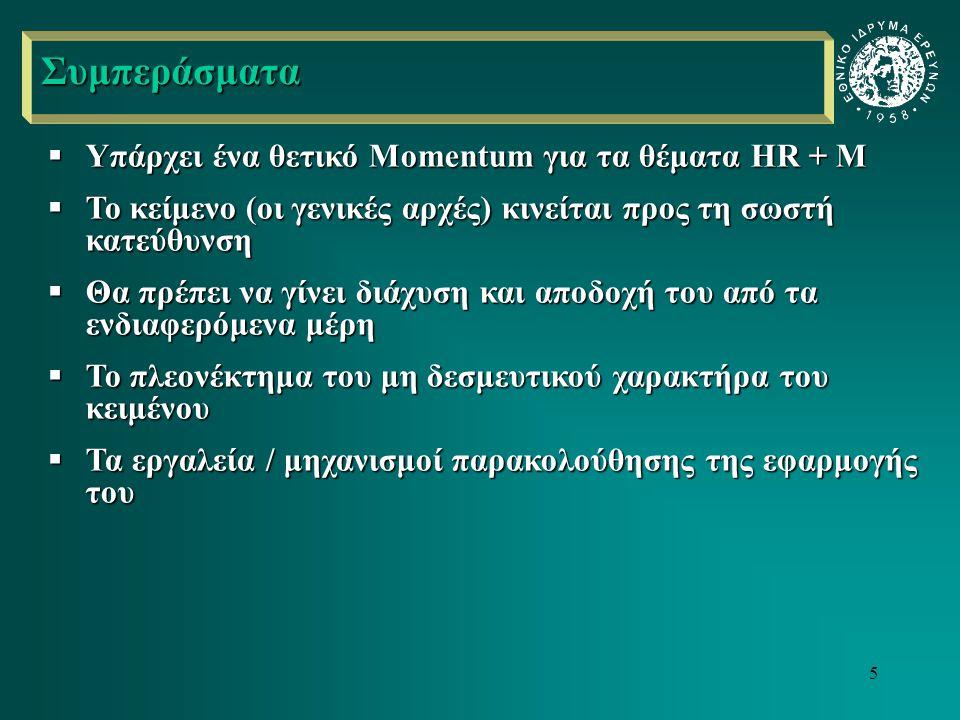 5  Υπάρχει ένα θετικό Momentum για τα θέματα HR + M  Το κείμενο (οι γενικές αρχές) κινείται προς τη σωστή κατεύθυνση  Θα πρέπει να γίνει διάχυση και αποδοχή του από τα ενδιαφερόμενα μέρη  Το πλεονέκτημα του μη δεσμευτικού χαρακτήρα του κειμένου  Τα εργαλεία / μηχανισμοί παρακολούθησης της εφαρμογής του Συμπεράσματα