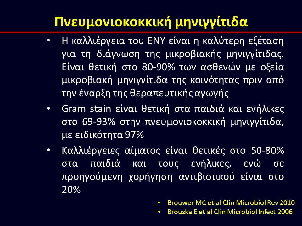 Πνευμονιοκοκκική μηνιγγίτιδα H καλλιέργεια του ΕΝΥ είναι η καλύτερη εξέταση για τη διάγνωση της μικροβιακής μηνιγγίτιδας. Είναι θετική στο 80-90% των