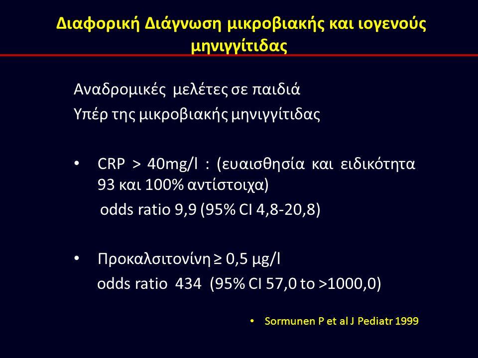 Αναδρομικές μελέτες σε παιδιά Υπέρ της μικροβιακής μηνιγγίτιδας CRP > 40mg/l : (ευαισθησία και ειδικότητα 93 και 100% αντίστοιχα) odds ratio 9,9 (95%