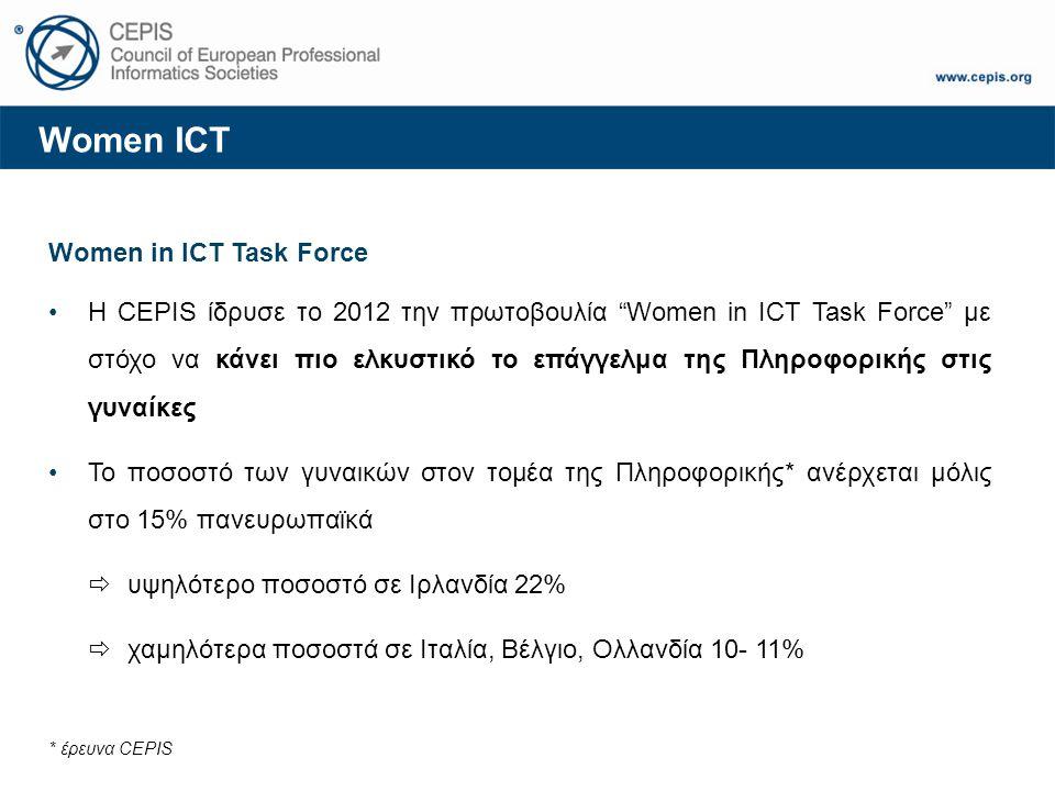 "Women ICT Women in ICT Task Force Η CEPIS ίδρυσε το 2012 την πρωτοβουλία ""Women in ICT Task Force"" με στόχο να κάνει πιο ελκυστικό το επάγγελμα της Πλ"