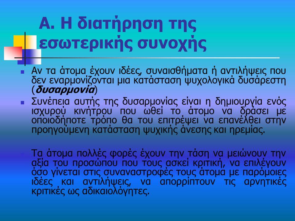 Α. Η διατήρηση της εσωτερικής συνοχής Αν τα άτομα έχουν ιδέες, συναισθήματα ή αντιλήψεις που δεν εναρμονίζονται μια κατάσταση ψυχολογικά δυσάρεστη (δυ