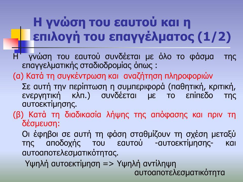 Η γνώση του εαυτού και η επιλογή του επαγγέλματος (1/2) Η γνώση του εαυτού συνδέεται με όλο το φάσμα της επαγγελματικής σταδιοδρομίας όπως : (α) Κατά