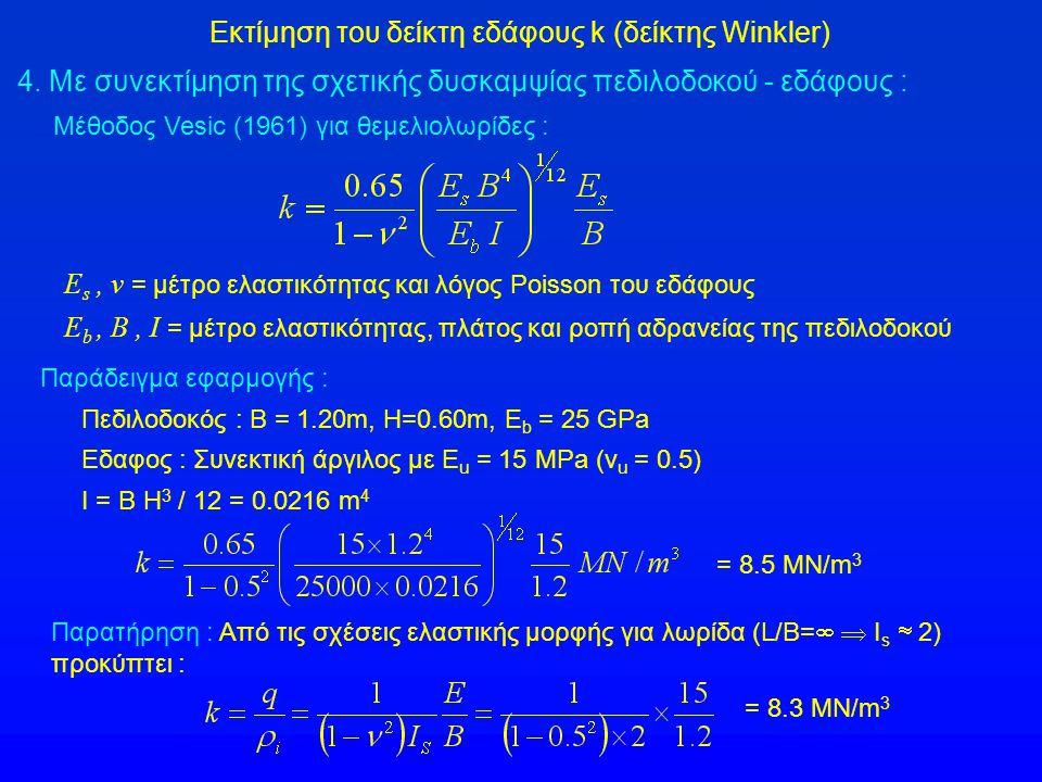Εκτίμηση του δείκτη εδάφους k (δείκτης Winkler) 4. Με συνεκτίμηση της σχετικής δυσκαμψίας πεδιλοδοκού - εδάφους : E s, ν = μέτρο ελαστικότητας και λόγ