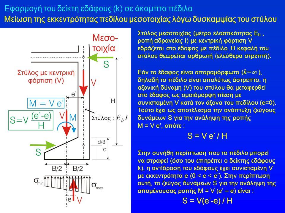 Εφαρμογή του δείκτη εδάφους (k) σε άκαμπτα πέδιλα Μείωση της εκκεντρότητας πεδίλου μεσοτοιχίας λόγω δυσκαμψίας του στύλου Στύλος μεσοτοιχίας (μέτρο ελ
