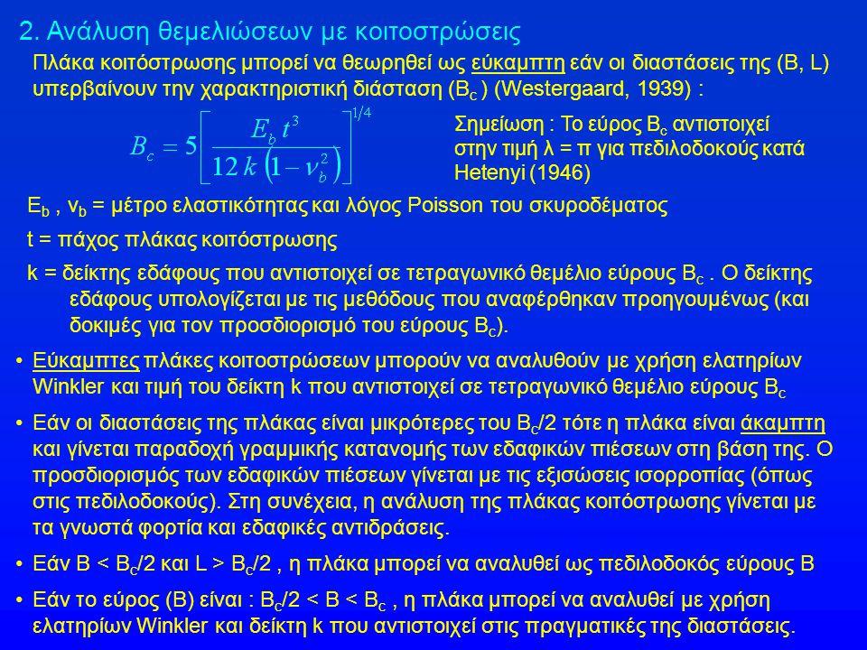 2. Ανάλυση θεμελιώσεων με κοιτοστρώσεις Πλάκα κοιτόστρωσης μπορεί να θεωρηθεί ως εύκαμπτη εάν οι διαστάσεις της (B, L) υπερβαίνουν την χαρακτηριστική