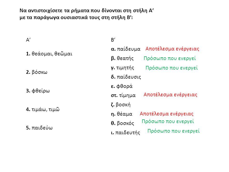 Να αντιστοιχίσετε τα ρήματα που δίνονται στη στήλη Α′ με τα παράγωγα ουσιαστικά τους στη στήλη Β′: Α′Β′ 1.