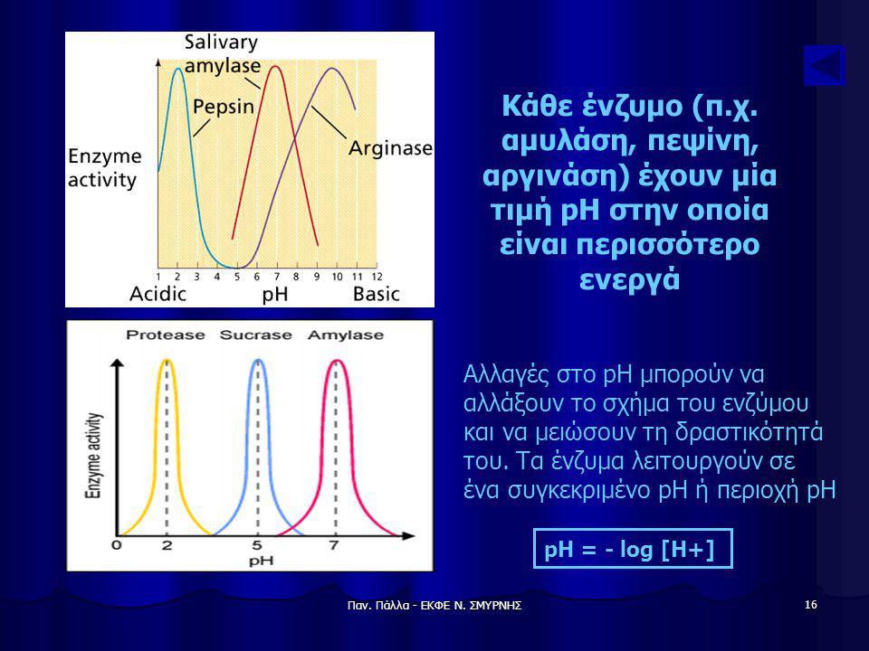 Παν. Πάλλα - ΕΚΦΕ Ν. ΣΜΥΡΝΗΣ 16 Αλλαγές στο pH μπορούν να αλλάξουν το σχήμα του ενζύμου και να μειώσουν τη δραστικότητά του. Τα ένζυμα λειτουργούν σε