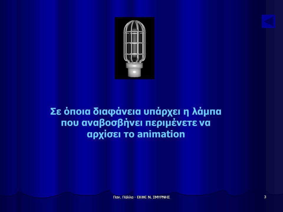 Παν. Πάλλα - ΕΚΦΕ Ν. ΣΜΥΡΝΗΣ 3 Σε όποια διαφάνεια υπάρχει η λάμπα που αναβοσβήνει περιμένετε να αρχίσει το animation