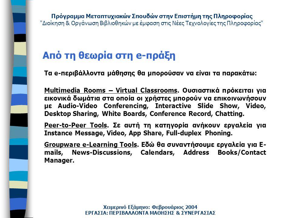 Πρόγραμμα Μεταπτυχιακών Σπουδών στην Επιστήμη της Πληροφορίας Διοίκηση & Οργάνωση Βιβλιοθηκών με έμφαση στις Νέες Τεχνολογίες της Πληροφορίας Χειμερινό Εξάμηνο: Φεβρουάριος 2004 Από τη θεωρία στη e-πράξη Multimedia Rooms – Virtual Classrooms.